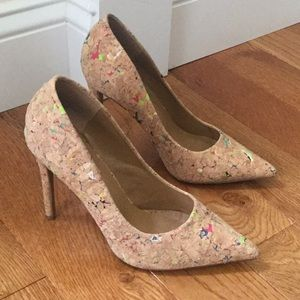 Steve Madden pointy toe colorful cork heels